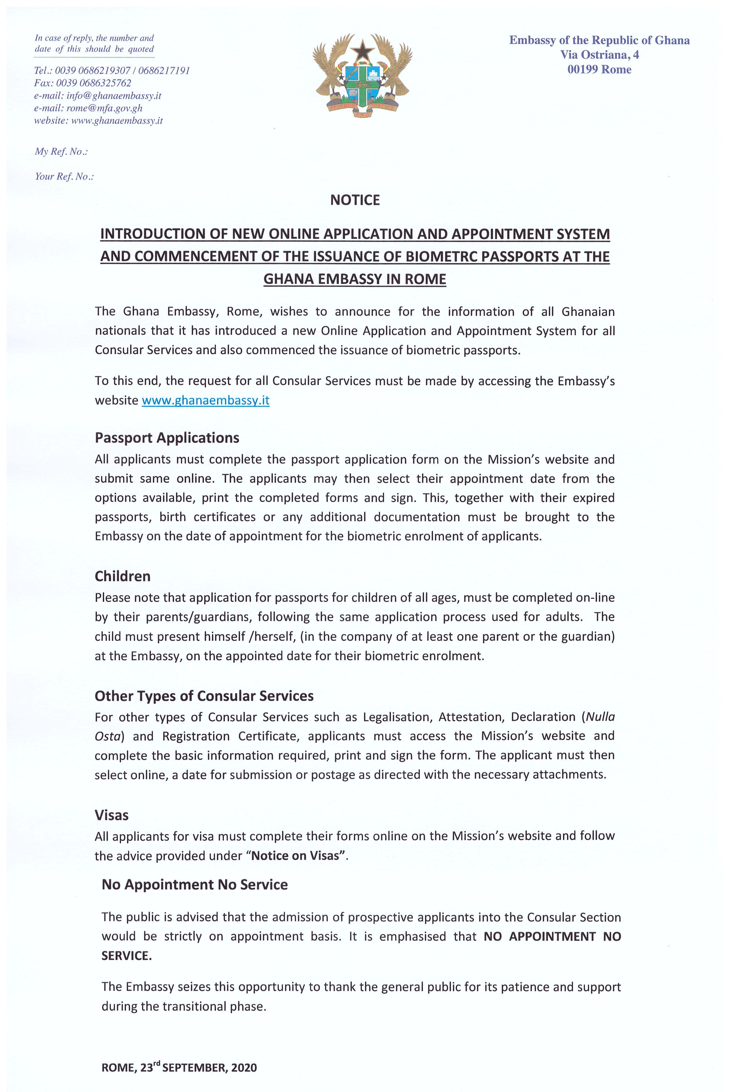 Consular Notice